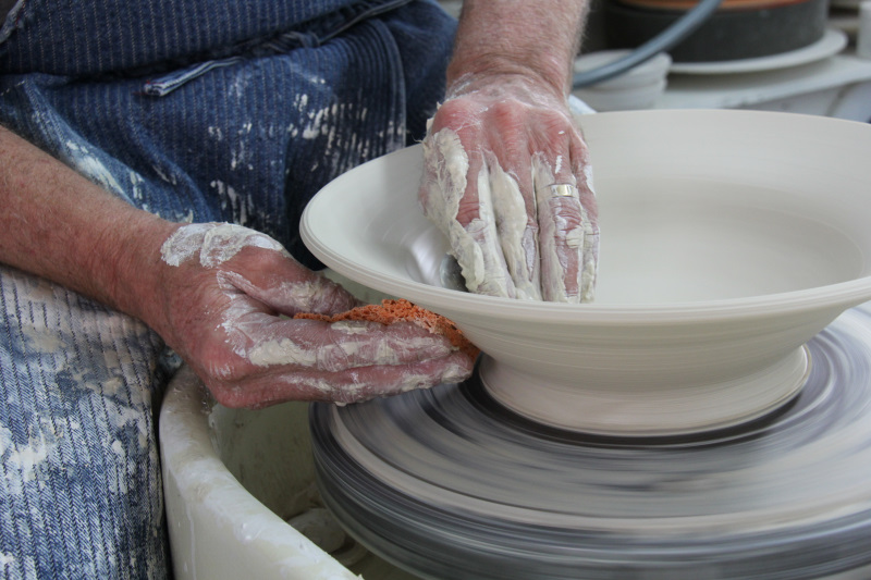 David Voorhees Demonstrates How To Throw A Porcelain Bowl On The Pottery Wheel
